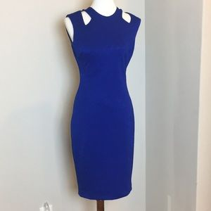Cache Blue Keyhole back dress